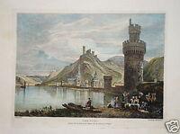 Oberwesel Burg Schönburg Rhein Lithographie Prout  1822