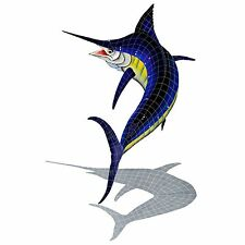"Mosaic Marlin w/ shadow for Swimming Pool or Wall  - 92"" x 56""  - FREE SHIPPING"