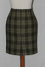 jupe droite en laine a carreaux beige et kaki mark & spencer 40 pur vintage