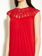 NWT Miguelina red Chantal Collar Dress XS USA cocktail shift party Anthropologie