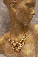 Goldtone Amber Faux Pearl & Rhinestone Funky Retro '70s Stain Glass Type Choker