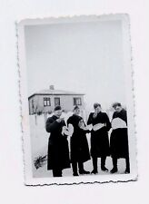 Original WORLD WAR TWO PHOTO HAPPY GERMAN SOLDIERS EATING house snow vintage
