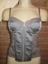 BNWT £38 UK 10 Topshop Fitted Top Grey Silver Corset Bustier Style Zip Front