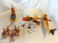 Playmobil Eskimo Family Village w/ Igloo, Dog Sled, Kayak, Seal, Arctic Animal