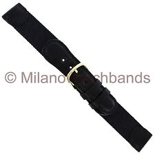 18mm Hirsch Black Genuine Leather and Nylon Fabric Swiss Army Style Watch Band