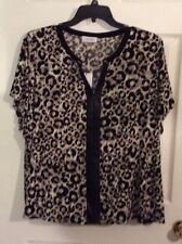 Calvin Klein Plus Size 3X Tunic Top Animal Faux Leather Trim, Short Sleeves. NEW