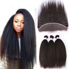 8A 300g/3bundles Unprocessed Brazillian Kinky Straight Human Hair & Frontal