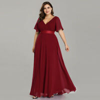 UK Ever-Pretty Plus Size V-neck Long Evening Dress Bridesmaid Party Dress 09890