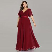Ever-Pretty Plus Size Burgundy Bridesmaid Dress Chiffon Evening Dresses 09890