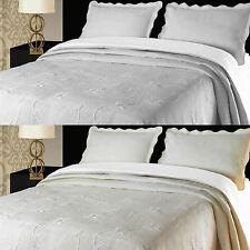 Floral Julia Bedspread Luxury Cotton Blend Bed Spread Throw Blanket Cream White
