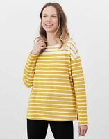 Joules Womens Marina Dropped Shoulder Jersey Top - Creme Gold Stripe