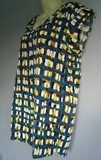 Neon lime Print Short Sleeve V neck Tunic, Casual top Sz 12 New (£38)