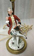 VICTORIAN GENTLEMAN PORCELAIN LAMP VINTAGE Figurine  ENGRAVED BRASS BASE Works!