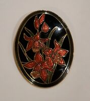 Beautiful Vintage Signed Sea Gems Cloisonne Enamel Flower brooch