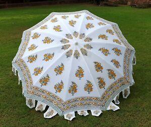 Indian Hand Block Yellow Floral Umbrella Patio Parasols Beach Garden Umbrella US