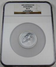 Australia 2003 P S$2 Silver Kookaburra NGC MS70 Australian Coin Bullion 70