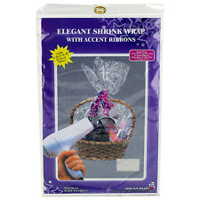 """Elegant Shrink Wrap 24"""" X 30"""" with 4 Accent Ribbons for Baskets"""