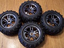 Traxxas Brushless E-maxx Tires 17mm Black Chrome Split Spoke Wheels E-revo 3.3 T