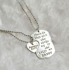 Father & Daughter Silver Tag Necklace Set