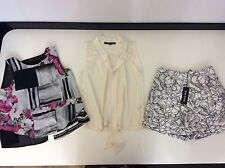 BUNDLE of TOPSHOP & River Island Size 36 Uk 8 2x Tops 1x Shorts New £30