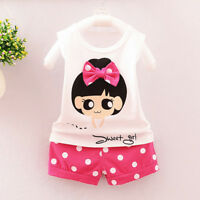 Summer Toddler Baby Kids Girl T-Shirt Tops+Shorts Pants 2PCS Casual Clothes Suit