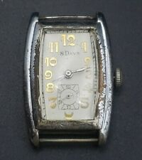 C. Bucherer ANTIQUE Mens 8 day Watch sterling Silver Case Very Rare 27mm case