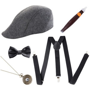 1920S Gatsby Gangster Fancy Dress Mens Costume Set Capone Godfather Hat Outfit