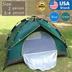 US 2-4 Person Automatic Pop-Up Outdoor Tent Camping Backpacking Tents Waterproof