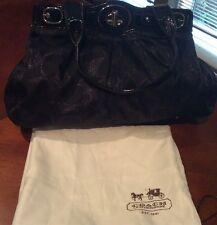 Large Coach Lurex Signature Black Sateen Handbag Purse
