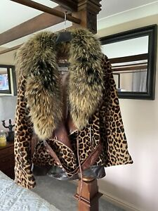 Womens Brown Real Leather and Real Fox Fur Jacket Coat Size 14