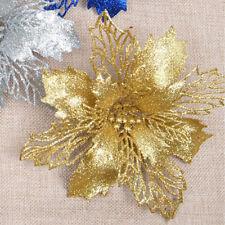 FP- BU_ Glitter Artificial Hollow Flowers Wedding Party Christmas Xmas Tree Home