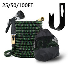 25/50/100FT Multi Expandable Garden Hose Flexible Water Spray Gun & Hook Bag Kit