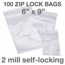 100 Piece 6 X 9 2mil Zip Lock Loc Poly Reclosable Plastic Bags Clear Packaging