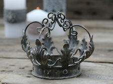 *Chic Antique Krone Metall Königskrone Vintage Grau Shabby Landhaus Dekoration