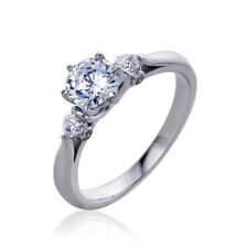 Women Silver Rhodium Plated 1.25ct CZ 6 Pong Solitaire Engagement Ring