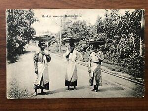 PHILIPPINES OLD POSTCARD MARKET WOMEN MANILA TO BELGIUM 1908 !!