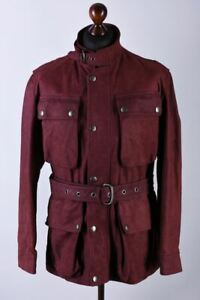 Dunhill London Suede Calf Leather Classic Belted Field Jacket Size L