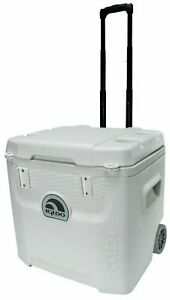 52-Quart Marine 5-Day Ice Chest Cooler with Wheels, Igloo Outdoor Cooler, White