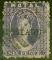 Natal 1869 6d Violet SG29 Type 7a Très Bien Utilisé
