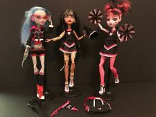 Monster High FEAR SQUAD FEARLEADING EXCLUSIVE 3 PACK DRACULAURA CLEO GHOULIA EUC