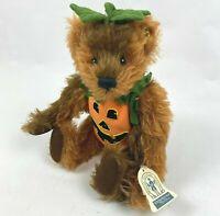 "Knickerbocker Toy Co Plush Mohair Teddy Bear ""Drew"" Pumpkin Costume Jointed 14"""