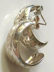 Vintage 80's sterling silver '925' diamond cut hooped hoop earrings statement