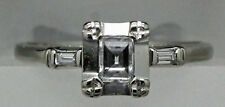 Vintage 14k White Gold Emerald Cut Diamond Ring .33 TCW