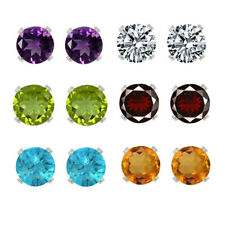 Sterling Silver 4mm Gemstone Stud Earrings Set of 6
