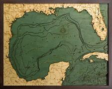 "GULF OF MEXICO 24.5"" x 31"" New, Laser-Cut 3-Dimen Wood Chart/Lake Art Map"