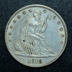1876-P SEATED LIBERTY HALF DOLLAR ✪ CH-AU ALMOST UNC DETAILS ✪ 50C L@@K◢TRUSTED◣