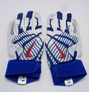 Nike HyperDiamond Pro Batting Gloves Women's Medium White/Gym Blue/Gym Red