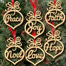 6pcs Wooden Tags Christmas Party Decoration Scrapbooking Christmas Hanging Decor