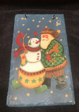 Christmas Wall Hanging Country Santa Snowman