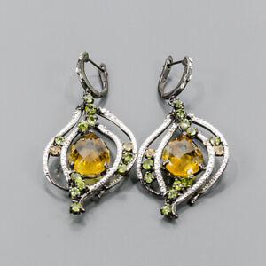 22ct+ Handmade SET Citrine Quartz Earrings Silver 925 Sterling   /E55092